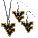Siskiyou Buckle W. Virginia Mountaineers Dangle Earrings and Chain Necklace Set, CDE60CN