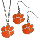 Siskiyou Buckle Clemson Tigers Dangle Earrings and Chain Necklace Set, CDE69CN