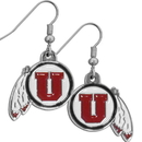 Siskiyou Buckle CDE89N Utah Utes Chrome Dangle Earrings
