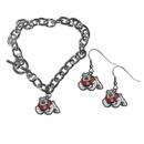 Siskiyou Buckle Fresno St. Bulldogs Chain Bracelet and Dangle Earring Set, CDEN100CBR