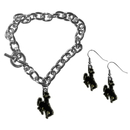 Siskiyou Buckle Wyoming Cowboy Chain Bracelet and Dangle Earring Set, CDEN121CBR