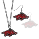 Siskiyou Buckle Arkansas Razorbacks Dangle Earrings and Chain Necklace Set, CDEN12CN
