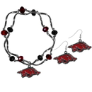 Siskiyou Buckle Arkansas Razorbacks Dangle Earrings and Crystal Bead Bracelet Set, CDEN12CYB