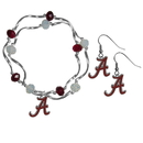 Siskiyou Buckle Alabama Crimson Tide Dangle Earrings and Crystal Bead Bracelet Set, CDEN13CYB