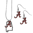 Siskiyou Buckle Alabama Crimson Tide Dangle Earrings and State Necklace Set, CDEN13SN