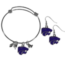Siskiyou Buckle Kansas St. Wildcats Dangle Earrings and Charm Bangle Bracelet Set, CDEN15CBB