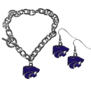 Siskiyou Buckle Kansas St. Wildcats Chain Bracelet and Dangle Earring Set, CDEN15CBR