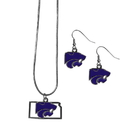 Siskiyou Buckle Kansas St. Wildcats Dangle Earrings and State Necklace Set, CDEN15SN