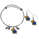 Siskiyou Buckle Kansas Jayhawks Dangle Earrings and Charm Bangle Bracelet Set, CDEN21CBB
