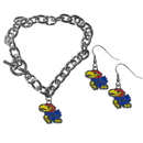 Siskiyou Buckle Kansas Jayhawks Chain Bracelet and Dangle Earring Set, CDEN21CBR