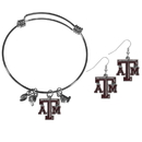 Siskiyou Buckle Texas A & M Aggies Dangle Earrings and Charm Bangle Bracelet Set, CDEN26CBB