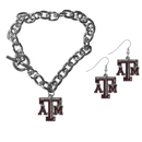 Siskiyou Buckle Texas A & M Aggies Chain Bracelet and Dangle Earring Set, CDEN26CBR