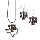 Siskiyou Buckle Texas A & M Aggies Dangle Earrings and State Necklace Set, CDEN26SN