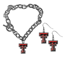 Siskiyou Buckle Texas Tech Raiders Chain Bracelet and Dangle Earring Set, CDEN30CBR