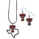 Siskiyou Buckle Texas Tech Raiders Dangle Earrings and State Necklace Set, CDEN30SN