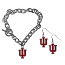 Siskiyou Buckle Indiana Hoosiers Chain Bracelet and Dangle Earring Set, CDEN39CBR
