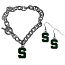 Siskiyou Buckle Michigan St. Spartans Chain Bracelet and Dangle Earring Set, CDEN41CBR