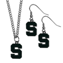 Siskiyou Buckle Michigan St. Spartans Dangle Earrings and Chain Necklace Set, CDEN41CN