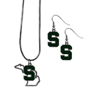 Siskiyou Buckle Michigan St. Spartans Dangle Earrings and State Necklace Set, CDEN41SN