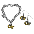 Siskiyou Buckle Georgia Tech Yellow Jackets Chain Bracelet and Dangle Earring Set, CDEN44CBR