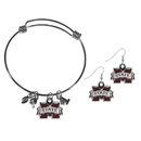 Siskiyou Buckle Mississippi St. Bulldogs Dangle Earrings and Charm Bangle Bracelet Set, CDEN45CBB