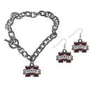 Siskiyou Buckle Mississippi St. Bulldogs Chain Bracelet and Dangle Earring Set, CDEN45CBR