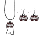 Siskiyou Buckle Mississippi St. Bulldogs Dangle Earrings and State Necklace Set, CDEN45SN