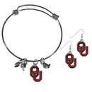 Siskiyou Buckle Oklahoma Sooners Dangle Earrings and Charm Bangle Bracelet Set, CDEN48CBB