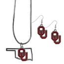 Siskiyou Buckle Oklahoma Sooners Dangle Earrings and State Necklace Set, CDEN48SN