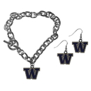 Siskiyou Buckle Washington Huskies Chain Bracelet and Dangle Earring Set, CDEN49CBR
