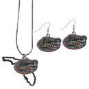 Siskiyou Buckle Florida Gators Dangle Earrings and State Necklace Set, CDEN4SN