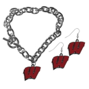 Siskiyou Buckle Wisconsin Badgers Chain Bracelet and Dangle Earring Set, CDEN51CBR