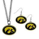 Siskiyou Buckle Iowa Hawkeyes Dangle Earrings and Chain Necklace Set, CDEN52CN