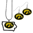 Siskiyou Buckle Iowa Hawkeyes Dangle Earrings and State Necklace Set, CDEN52SN