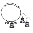 Siskiyou Buckle Arizona Wildcats Dangle Earrings and Charm Bangle Bracelet Set, CDEN54CBB
