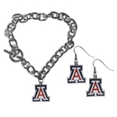Siskiyou Buckle Arizona Wildcats Chain Bracelet and Dangle Earring Set, CDEN54CBR