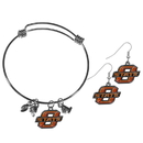 Siskiyou Buckle Oklahoma St. Cowboys Dangle Earrings and Charm Bangle Bracelet Set, CDEN58CBB