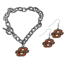 Siskiyou Buckle Oklahoma St. Cowboys Chain Bracelet and Dangle Earring Set, CDEN58CBR