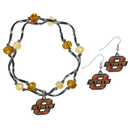 Siskiyou Buckle Oklahoma St. Cowboys Dangle Earrings and Crystal Bead Bracelet Set, CDEN58CYB