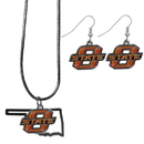 Siskiyou Buckle Oklahoma St. Cowboys Dangle Earrings and State Necklace Set, CDEN58SN
