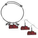 Siskiyou Buckle Mississippi Rebels Dangle Earrings and Charm Bangle Bracelet Set, CDEN59CBB
