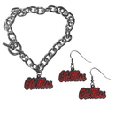 Siskiyou Buckle Mississippi Rebels Chain Bracelet and Dangle Earring Set, CDEN59CBR