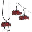 Siskiyou Buckle Mississippi Rebels Dangle Earrings and State Necklace Set, CDEN59SN