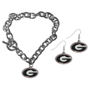 Siskiyou Buckle Georgia Bulldogs Chain Bracelet and Dangle Earring Set, CDEN5CBR