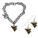 Siskiyou Buckle W. Virginia Mountaineers Chain Bracelet and Dangle Earring Set, CDEN60CBR
