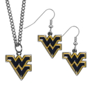 Siskiyou Buckle W. Virginia Mountaineers Dangle Earrings and Chain Necklace Set, CDEN60CN