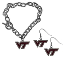 Siskiyou Buckle Virginia Tech Hokies Chain Bracelet and Dangle Earring Set, CDEN61CBR