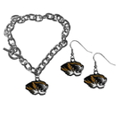 Siskiyou Buckle Missouri Tigers Chain Bracelet and Dangle Earring Set, CDEN67CBR