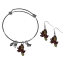 Siskiyou Buckle Arizona St. Sun Devils Dangle Earrings and Charm Bangle Bracelet Set, CDEN68CBB