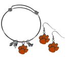 Siskiyou Buckle Clemson Tigers Dangle Earrings and Charm Bangle Bracelet Set, CDEN69CBB